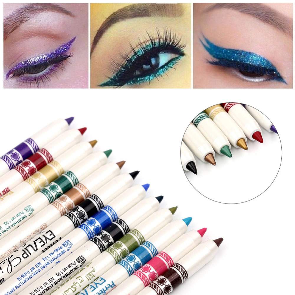 MENOW 12 Pcs Eye Make Up Eyeliner Pencil Waterproof Natural Eyebrow Beauty Pen Long-lasting Eye Liner Lip Sticks Cosmetics Tools