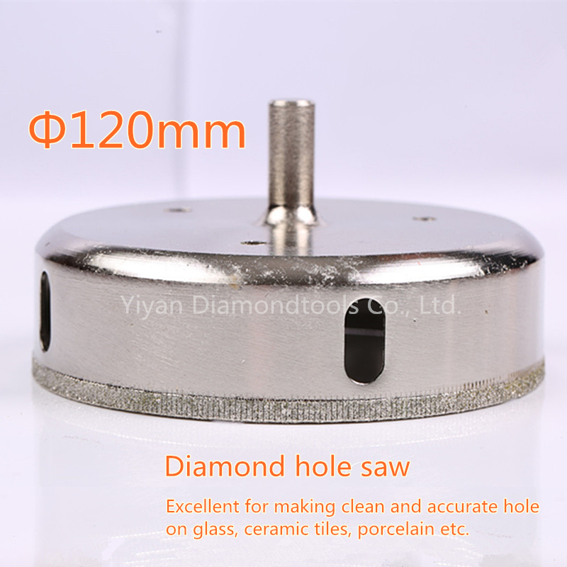 1pc 120mm diamond coated drill bit hole saw cutter for glass concrete hole cutting free shipping square shank concrete stone wall hole saw drill bit 40mm