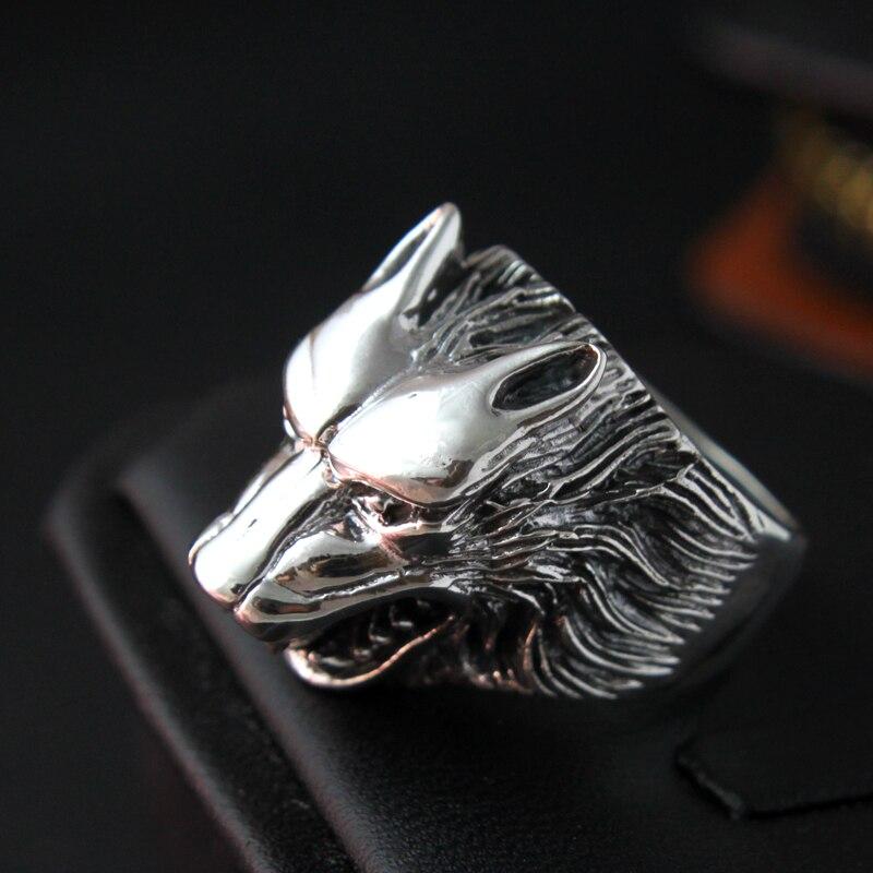 S925 bijoux en argent rétro bague en argent loup anneau personnalité de la mode des hommes