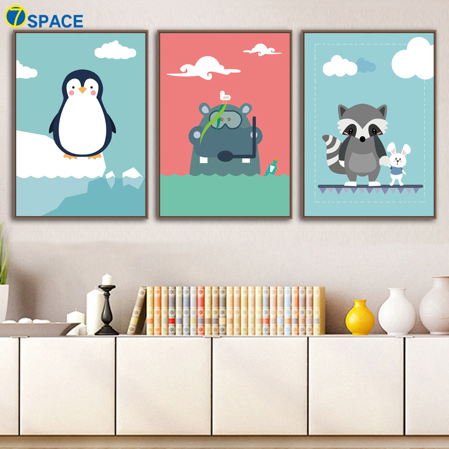 Animals Penguin Hippo Raccoon Rabbit Nordic Poster Wall Art Canvas Painting Wall Pictures For Baby Girl Boy Room Art Print Decor