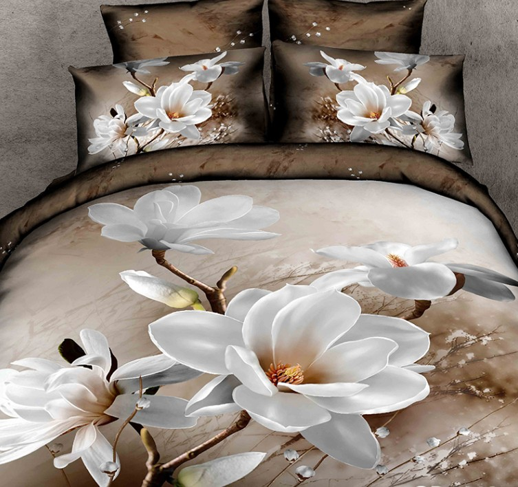 3d White Magnolia Flower Floral Bedding Set Duvet Cover