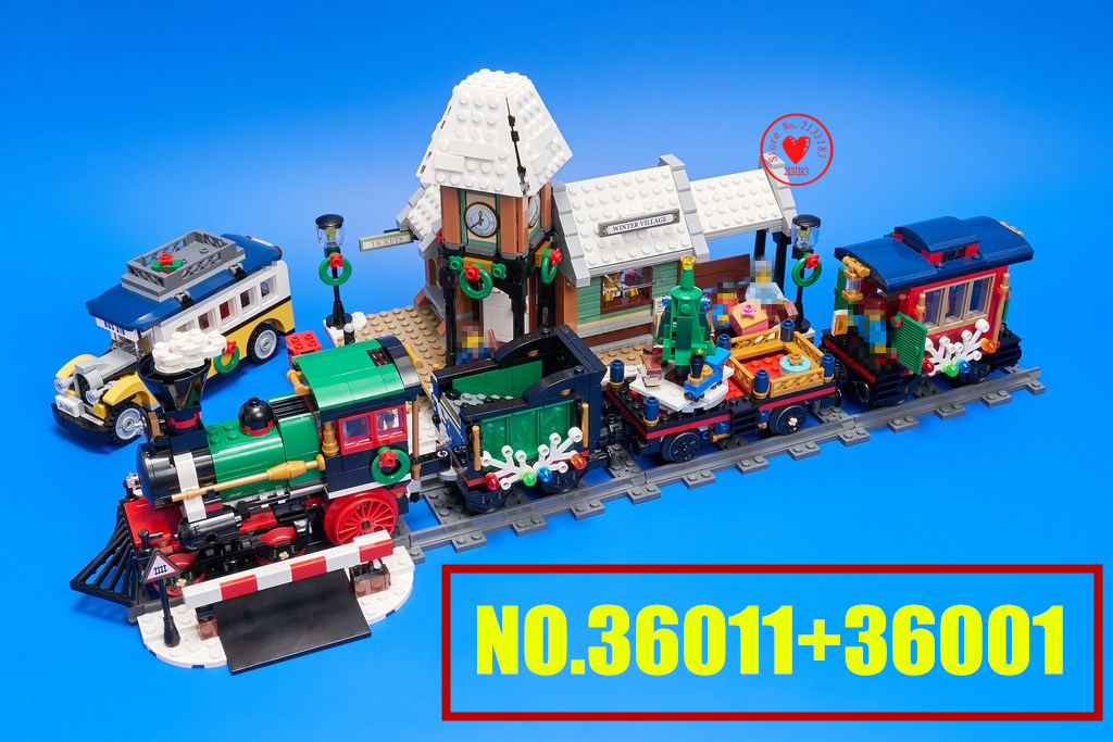 New Winter Village Station fit legoings technic city creator model Building Blocks Bricks Toy 10254 christmas gift kid set