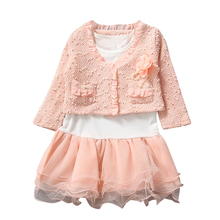 2pcs Kids Children Girls Long Sleeve Lace Coat Bubble Skirt Dress Outfit  Flower Coat + White T Shirt Tutu Skirt Clothes Girls