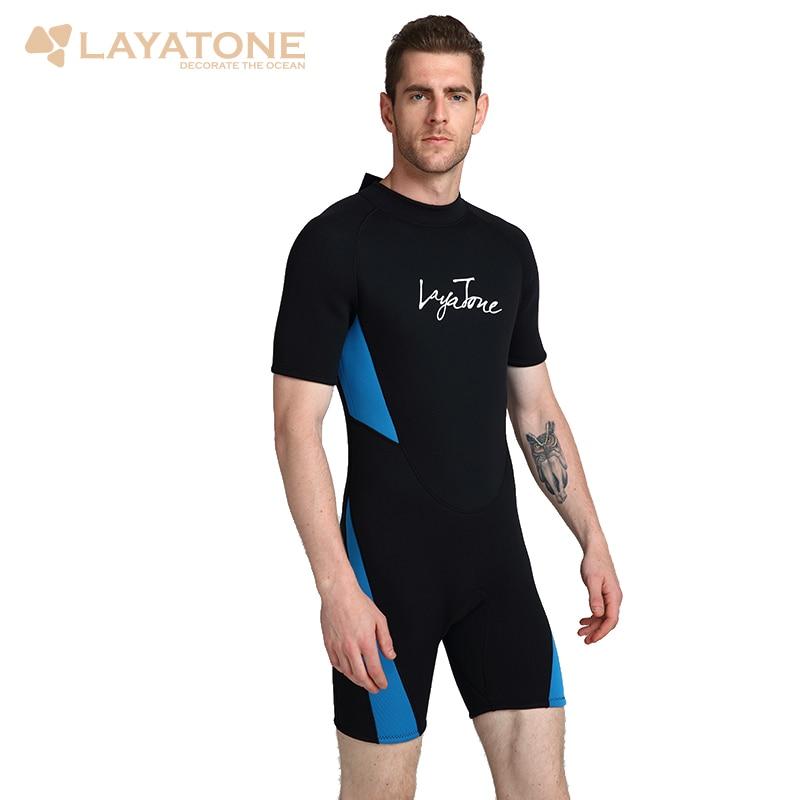 Layatone Combinaison Hommes 3mm Néoprène Shorty Plongée Costume Fullbody Maillot de Bain Une Pièces Femmes Surf Vêtements Snorkeling Humide Costume