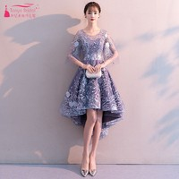 A Line Short Front Long Back Homecoming Dresses Lace Embroidery Blue High Low Praty Cocktail Dress Gown JQ293