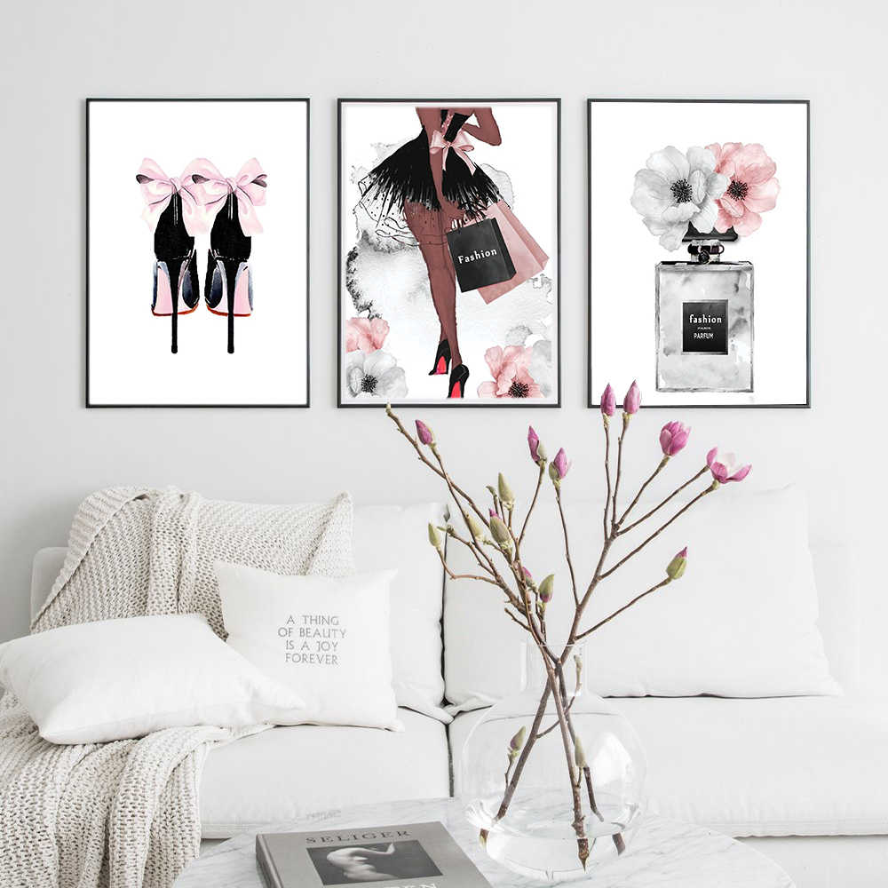 Perfume Bottle Poster Nordic Wall Art Fashion High Heels Canvas Print Painting Woman Pictures For Living Room Modern Decoration