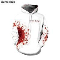 Liumaohua I'm Fine Horror Wound 3d Hoodies Men Women Cosplay Sweatshirts Punk Thin Streetwear tops