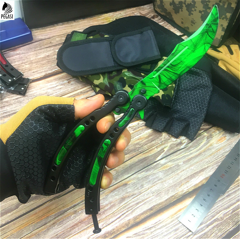 CS GO Emerald green design chic claw knife 9.8 inch butterfly training knife with scabbard and neck rope tactics claw knife-in Knives from Tools