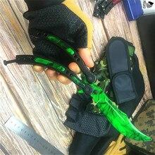 سكين المخلب الأنيق بتصميم باللون الأخضر الزمردي من CS GO سكين تدريب على شكل فراشة 9.8 بوصة مع سكين متدلي على شكل فراشة وحبل رقبة
