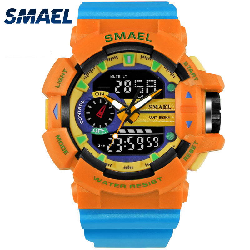 Orange Sport Watch 50M Wateproof Men's Wristwatch S Shock Clock Men Fashion Watch Dive relogio masculino 1436 Digital Watch LED