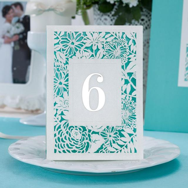 Wholesale 10pcs Sky Blue Laser Cut Flowers Wedding Place Cards In ...