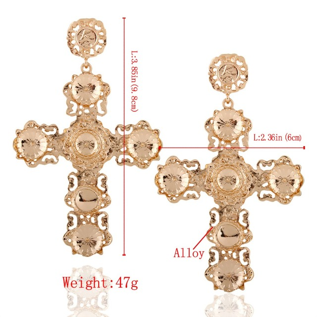 KMVEXO Hollow Out Drop Earrings for Women Clothing Accessories Vintage Statement Earrings 2018 Chic Gold Color Cross Earrings
