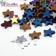 Olingart 8mm 60 pçs pedra natural preto hematite contas de metal chapeamento cor estrelas colar pulseira brincos diy jóias fazendo