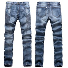 GOOD!Men Biker Jeans 2016 Men  Skinny Slim Fit Stretch Fashion  Jeans Ripped Blue Jeans Homme Regular Jean Size 30-38