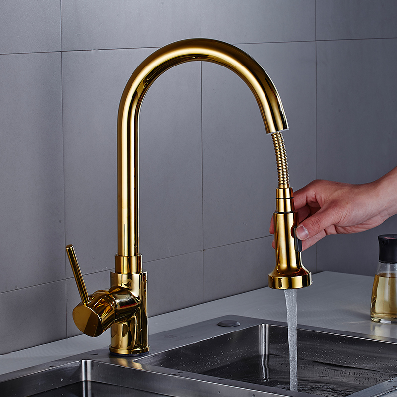 Pull Out Kitchen Faucet Gold Kitchen Sink Mixer Tap 360 Degree Kitchen Faucet Rotation Torneira Cozinha Mixer Tap Kitchen Tap