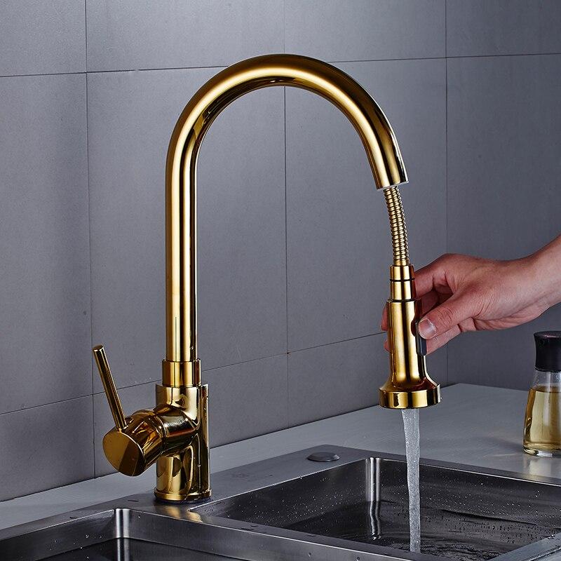 Pull Out Kitchen Wasserhahn Gold Küche Waschbecken Mischbatterie 360 grad Küche Wasserhahn dreh torneira cozinha mischbatterie Küche Tap