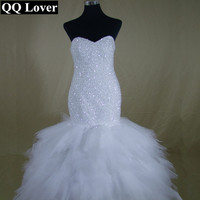QQ Lover 2017 Shining Beads Luxury Strapless Mermaid Wedding Dress Custom Made Vestidos De Noiva