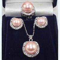 Розовый оболочки жемчужное ожерелье Crystal серьги кольцо комплект ювелирных изделий> * 18 К с позолотой кварцевые часы оптом камень CZ Кристалл