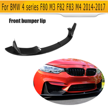 M4 carbon fiber car front bumper lip spoiler for BMW 4 series F80 M3 F82 F83 14-17 only Black FRP P style