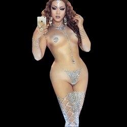 Sexy nu combinaison femmes brillant strass robe danse Costume scène Performance usure femme chanteuse une pièce discothèque tenue