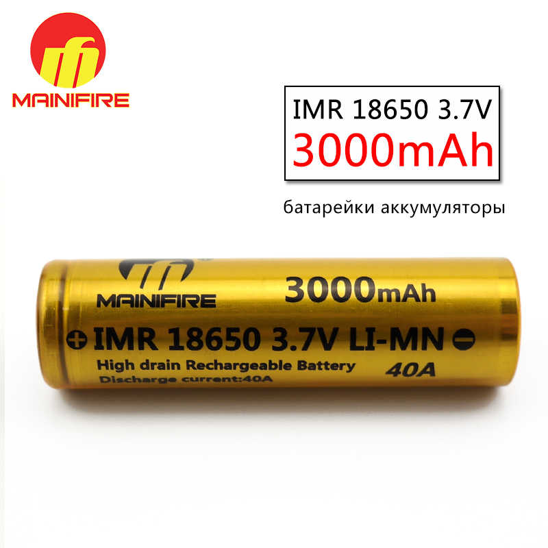 2018 hot sale Mainifire18650 battery 3000mah  40A 3.7V li-ion mod battery 3.7v 3000mah long lasting battery with flat top(2pc)
