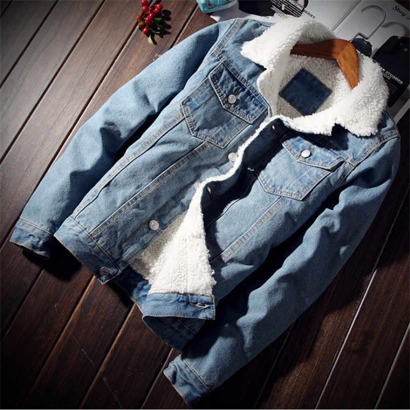 男性のジャケットやコートトレンディ暖かいフリースデニムジャケット 2018 冬のファッションメンズジーンズジャケット生き抜く男性カウボーイプラスサイズ 5XL
