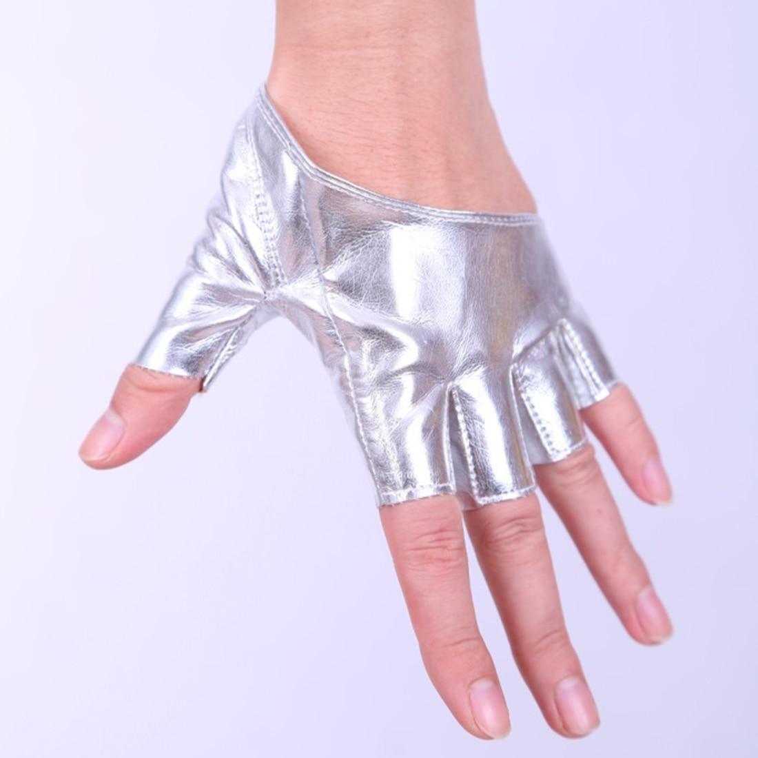 Fashion Women's Leather Gloves Half Finger Gloves 2018 New Fingerless Driving Show Jazz Gloves Pole Dance Performance Gloves Hot