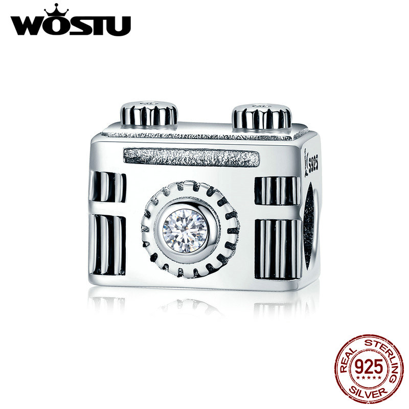 WOSTU High Quality 100% 925 Sterling Silver Vintage Camera Memory Box Charm fit Charm Bracelet Bangle DIY Jewelry CQC516 image