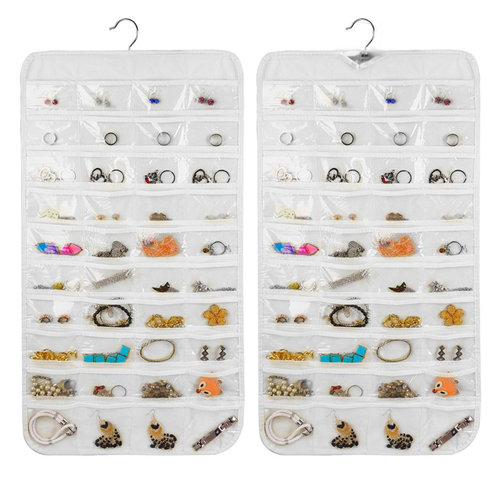 80 Pockets Necklace Bracelet Earring Jewelry Hanging Accessories Double Sided Display Wardrobe Organizer Storage Transparent Bag