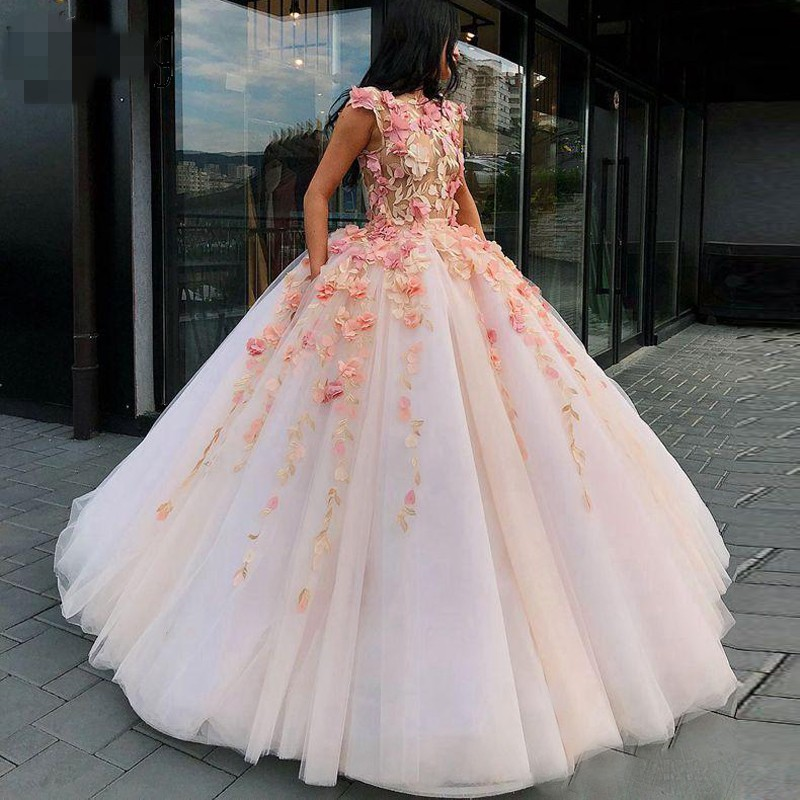 Pretty Lace Blush Pink Puffy Ball Gowns 3D Flower Tutu Long Prom Gowns Sexy See Thru Top Formal Party Giown Vestidos De Festa