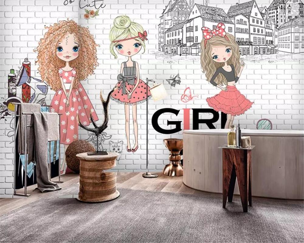 Beibehang custom made Large 3d Wallpaper Hand drawn urban fashion girl White brick city photo background wall 3d wallpaper