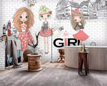Beibehang custom made Large 3d Wallpaper Hand drawn urban fashion girl White brick city photo background wall wallpaper