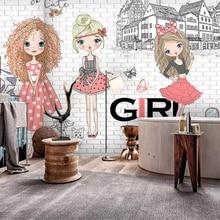 3d Wallpaper Custom-Made Brick Beibehang Urban Fashion Girl Photo-Background-Wall City
