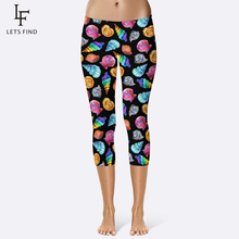 2019 New Arrival Mid Calf Leggings 3d Digital Printing Leggins Black Background Printed Iridescence Conch Women Capri
