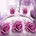Free shipping home textile flower 3d Violet bedding set,Home textiles 4pc family set,Include:bed sheet,duvet cover pillowcase