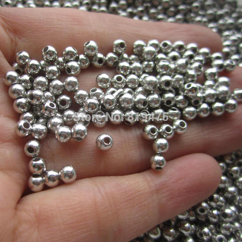 3mm 4mm 300pcs/lot Silver  Spacer Beads, Acrylic Beads Silver  For ChunkyJewellery