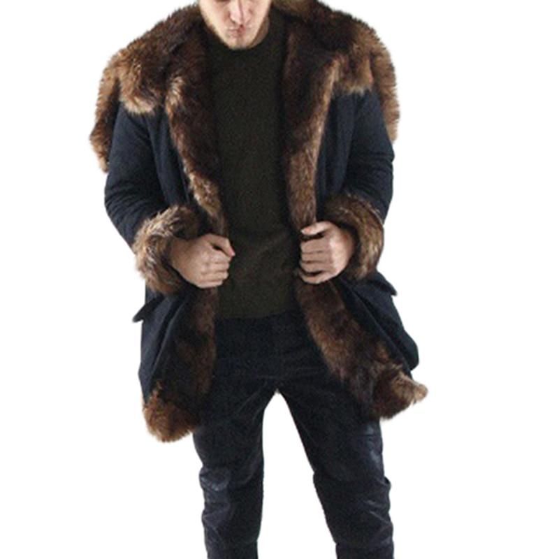 autumn&winter warm coat man faux fur coat Splice winter faux Fox fur Fashion coat and jackets Schwarzen Pelzmantel Free shipping