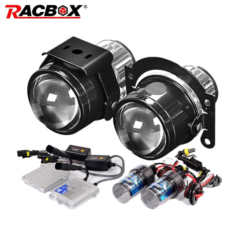 RACBOX Universal Waterproof 2 5 inch Bi xenon Fog lights Projector Lens Driving Fog Lamps Car
