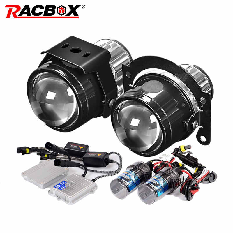 RACBOX Universal Waterproof 2.5 inch Bi-xenon Fog lights Projector Lens Driving Fog Lamps Car Motorcycle Retrofit Kit H11 55W