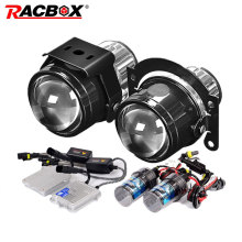 RACBOX Universal Waterproof 2.5 inch Bi xenon Fog lights Projector Lens Driving Fog Lamps Car Motorcycle Retrofit Kit H11 55W