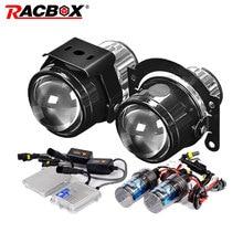 RACBOX Universal Waterproof 2.5 inch Bi-xenon Fog lights Projector Lens Driving Lamps Car Motorcycle Retrofit Kit H11 55W