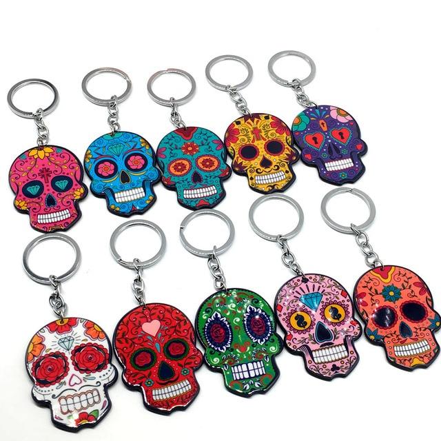 Calavera Sugary sweet whimsical skull Keychain Keyring Celebrate Mexican Day of the Dead Halloween Acrylic Sugar Skull Key Chain