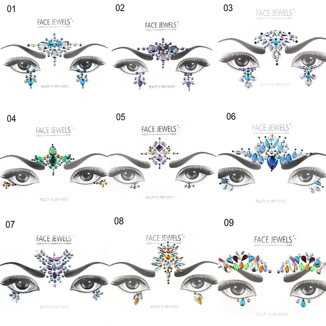 1 Sheet Handpicked Bohemia Tribal Style 3D Crystal Sticker Face And Eye Jewels Forehead Stage Decor Temporary Tattoo Sticker 2