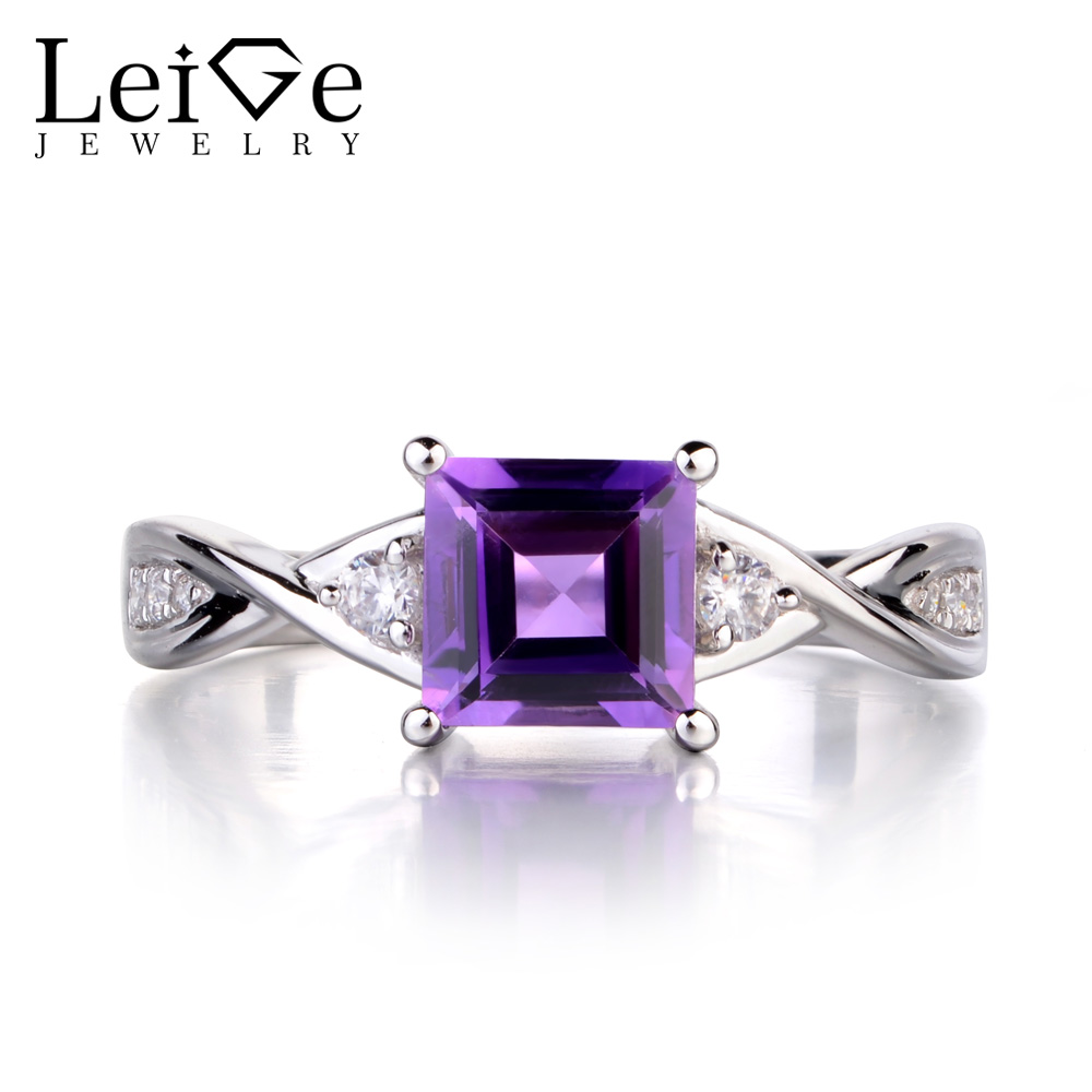 Leige Jewelry Purple Amethyst Wedding Engagement Rings for Women Sterling Silver 925 Square Cut Gemstone Ring
