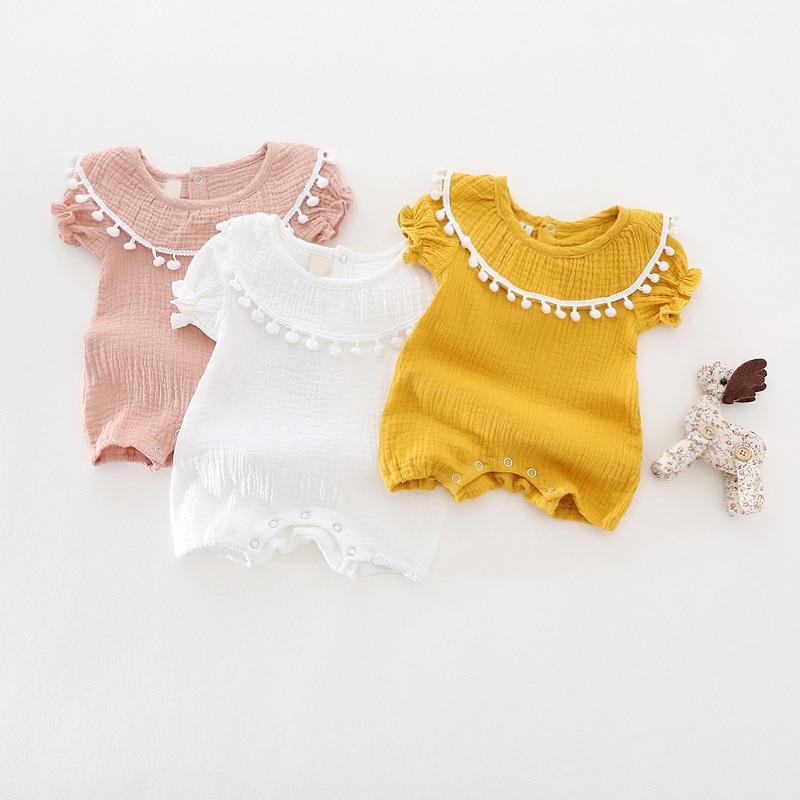 Caliente 2017 Europa y América estilo chica borla Monos bebé ropas 0 a 18 m niño niños Pijamas verano