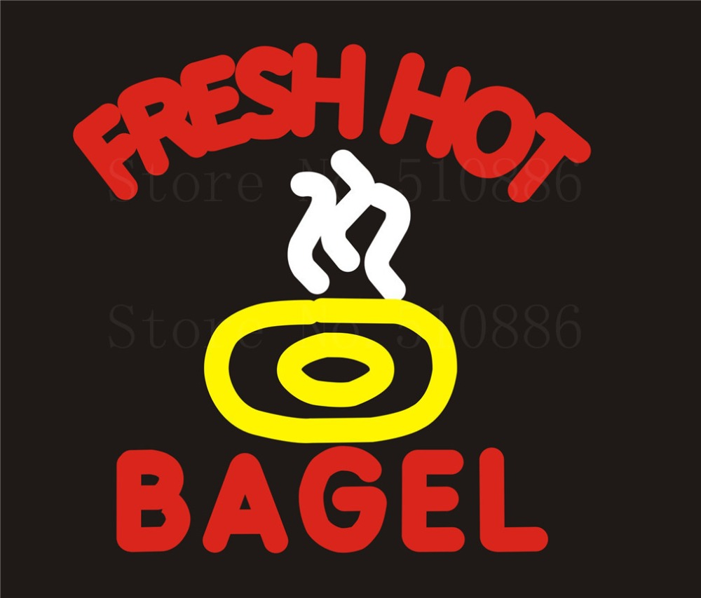 NEON Sign Board For Fresh Bagel Hot  Open Real GLASS Tube PUB Restaurant Signboard Display Store Shop Light Custom Signs 17*14  цены