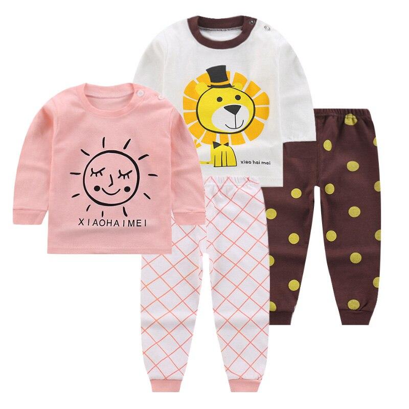 12 м-5 т детей Костюмы осень 2018 с длинным рукавом комплект одежды для мальчиков и девочек милый мультфильм новая одежда для девочек костюм для...