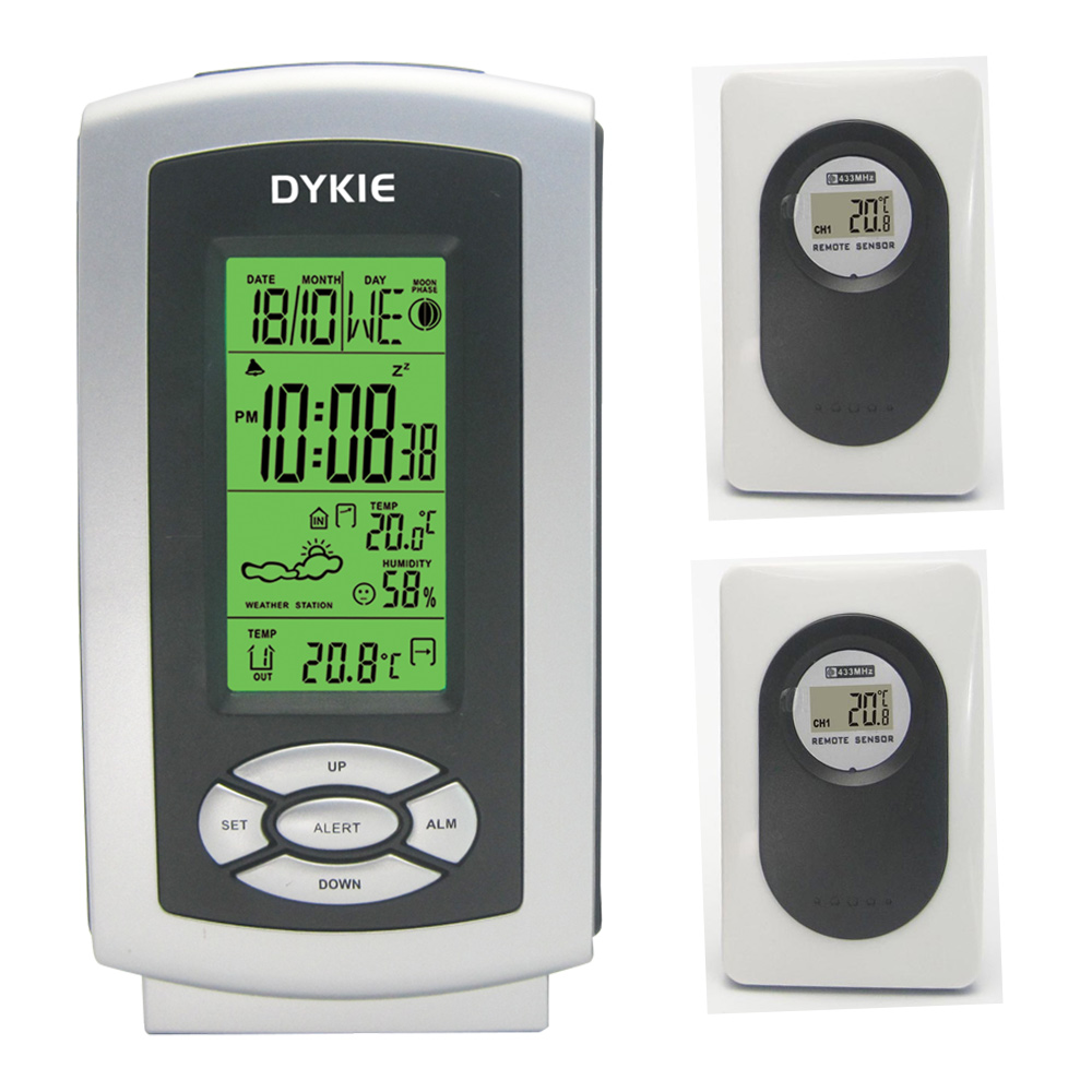 RF Wireless Backlight DYKIE Weather Station with Indoor Outdoor Temperature Humidity Digital Alarm Clock 2 Remote Transmitters цена и фото