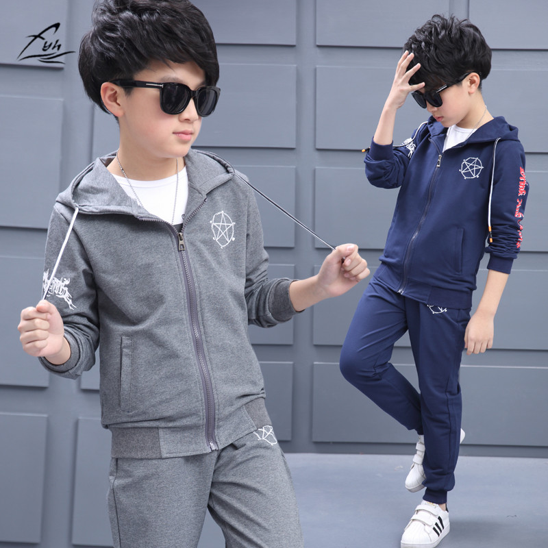FYH Boys Clothes New School boys Sports Suit 2pcs Teenagers Casual Suit Kids Spring Autumn Clothing Set Boys Hooded Coat+Pants