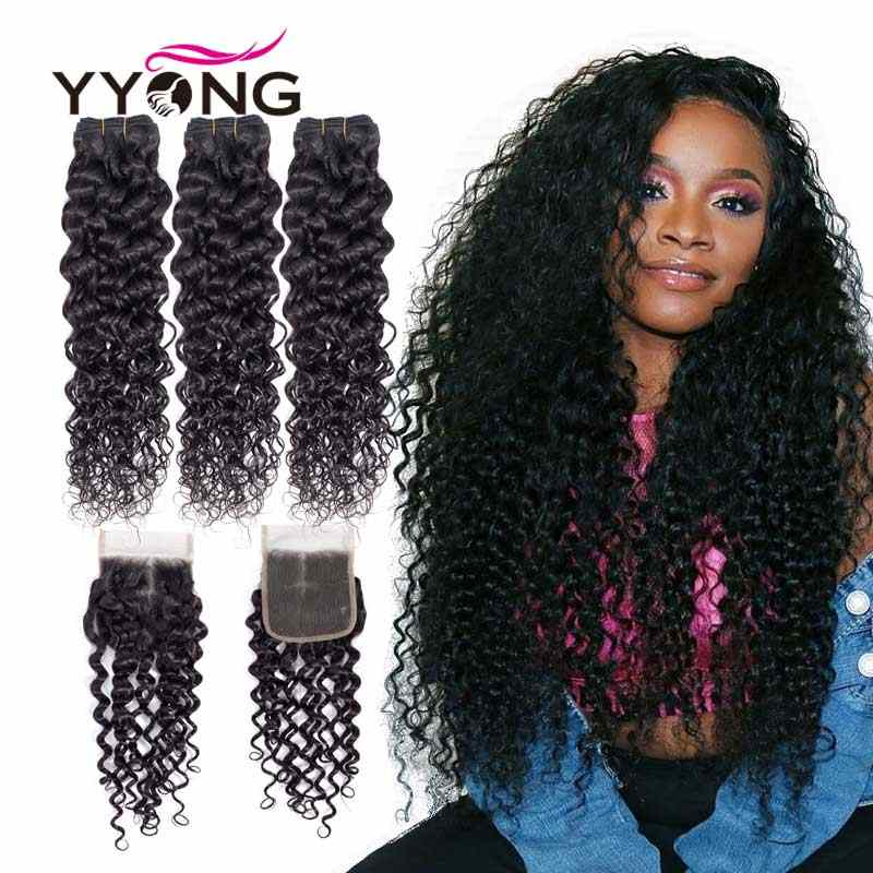 YYong волосы бразильские волосы плетение пучки с закрытием волна воды 3 пучка с закрытием 100% человеческие волосы пучки с кружевом
